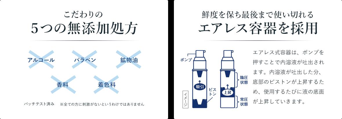 鮮度を保ち最後まで使い切れるエアレス容器を採用